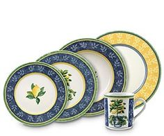 Villeroy & Boch Switch 3 Corfu combines the well-loved blue and green sprig motif with warm yellow tones, lemon sprays and topiaries. Porcelain Mugs, China Porcelain, Blue And White Dinnerware, Yellow Plates, Crystal Stemware, China Sets, Dish Sets, Fine Linens, Carnival Glass