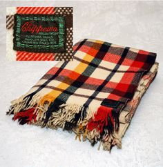 Vintage Chippewa Falls Wool Blanket  Red by LovelyLinensandMore, $25.00