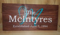 Initial & Family Name With Established Date wood sign - Kelly Belly Boo-tique  - 1