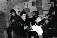 Rare Beatles photograph taken in Liverpool's Cavern Club ~ this is one of the earliest photos of the band