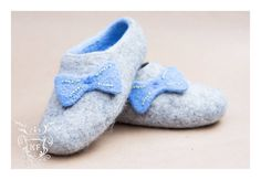 Felted Blue Sky Bow Slippers  Follow us on Facebook! https://www.facebook.com/kensingtonFelt/