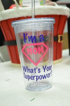 Custom BPA Free Acrylic Tumbler   I'm a Mom whats your superpower - great mom gift!