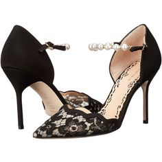 Marchesa Emma (Black Lace) High Heels ($628) ❤ liked on Polyvore featuring shoes, sandals, marchesa, black lace sandals, high heel sandals, black high heel shoes, lace-up sandals and ankle strap sandals