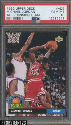 dfb3a12f84d 1992 Upper Deck  Ad9 All-Division Team Michael Jordan Chicago Bulls PSA 10