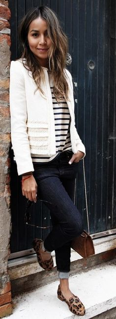 #spring #summer #outfitideas | Black And White + Stripes + Pop Of Leo | Sincerely Jules