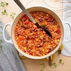 Paella, Chili, Nom Nom, Food And Drink, Soup, Healthy, Ethnic Recipes, Chili Powder, Chile