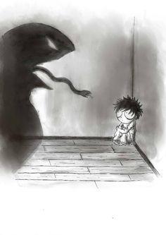 illustration monstre cauchemar encre de chine