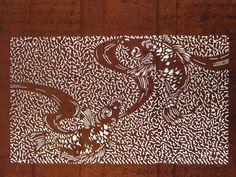 Antique 19c Japanese Ise KATAGAMI Kimono Stencil Art Edo Meiji Period 型紙 1752 | eBay
