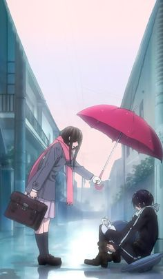 Anime: Noragami (Hiyori e Yato) Noragami Anime, Yatogami Noragami, Yato And Hiyori, Art Anime, Anime Kunst, Anime Art Girl, Manga Anime, Anime Girls, Tokyo Ghoul