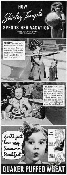 #Vintage #Advertising:  How Shirley Temple Spends Her Vacation - Quaker Puffed Wheat (1937) via #VintageAdService