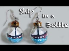 ▶ Ship in a bottle - Polymer Clay earrings miniature by Mo Clay