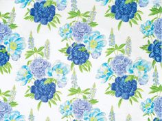 Floral pattern linen fabric in Cobalt Blue, azure Blue and Lime Green