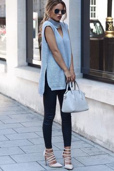 OVERCAST Chunky Tunic - Missguided (Here)Skinny Leather Jeans - French Connection (Here)Nude Court Heels - Missguded (Here)D-struct Sunglasses - Asos (Here)Mini Tote Bag - Missguded (Here) Fashion Trend by Nada Adelle