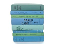 Ocean Blue Green Book Stack Vintage Decorative Books Centerpiece - pinned by pin4etsy.com