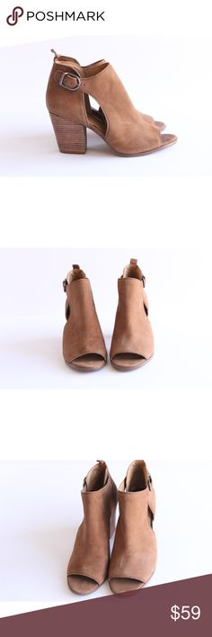 Lucky Brand Suede Peep Toe Ankle Bootie Size 9.5 Beautiful tan suede Ankle Bootie with cut out and Peep toe detail. Excellent Condition with minor wear to the sole. They look practically brand new. Worn once. Size 9.5. No modeling and no trades. Please fee free to ask any questions. Lucky Brand Shoes Ankle Boots & Booties