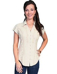 d4da0714575f87 Scully Women s Cap Sleeve Peruvian Cotton Top Khaki Small   Want to know  more