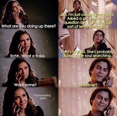 The Vampire Diaries Elena & Damon Vampire Diaries Damon, Vampire Diaries Quotes, Vampire Diaries The Originals, Damon Salvatore, Tvd Quotes, Movie Quotes, Delena, Titanic, Vampire Daries