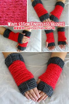 Wave Stitch Finger less gloves pattern and video tutorials by Meladora's Creations