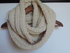 Front view Cream Infinity Scarf