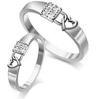 18K Gold Plated Heart and Lock Couple Ring Set for Two