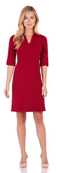 A fresh take on everyday dressing. Shop this classic premier ponte dress in a bold solid red.