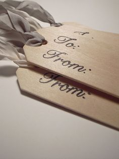 Wood Gift Tags with Antique Ribbon