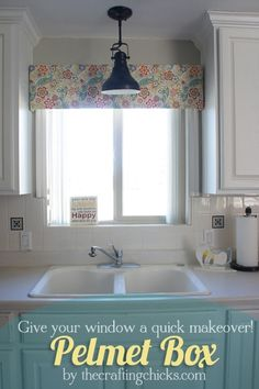 Farmhouse Kitchen Window Valance Tutorial   Home Decor  Window     Pelmet Box   for kitchen  different fabric  possibly add ribbon and bow or  flower