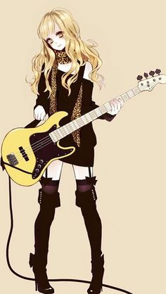 Music anime girl with guitar.