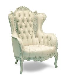 white victorian back sofas | ... CHAIRS :: White Leather Button- Tufted Victorian Wing Back Chair