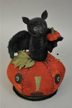 Bat on Pumpkin....Original mohair characters & other stitches by Lori Ann Corelis