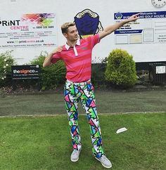 Looking fly in these bright golf pants! #LoudmouthNation #BrightGolfPants #MensGolfOutfit #MensGolfFashion #BrightGolfClothes #PatternedPants