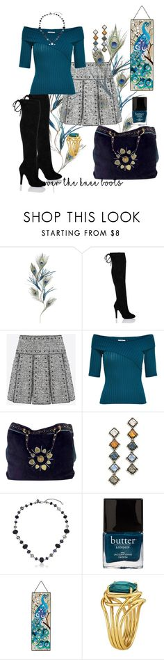 """""""Feathered Friend🍃"""" by parnett ❤ liked on Polyvore featuring Pier 1 Imports, Valentino, Gucci, DANNIJO, Carolee and Butter London"""