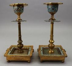 Pair, Antique French Champleve Bronze Candlesticks