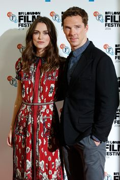 (L-R) Actors Keira Knightley and Benedict Cumberbatch attend the photocall for 'The Imitation Game' during the 58th BFI London Film Festival at Corinthia Hotel London on October 8, 2014 in London, England.