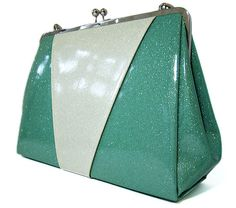 Sparkle Vinyl Rockabilly Retro Purse Turquoise by RetroRedone, $90.00