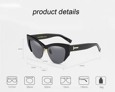 d7414cb955 Glasses - Half Frame Comfortable Color Ladies Cat Eye Sunglasses – Kaaum