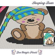 Sleeping Bear crochet graph pattern, template, afghan, graphghan baby blanket
