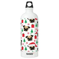 Cute Christmas Pug Water Bottle - dog puppy dogs doggy pup hound love pet best friend