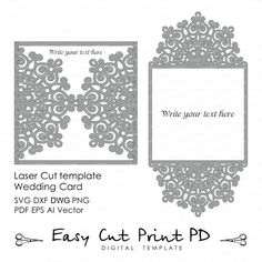Wedding Invitation Card Envelope Template Lace Folds Cover