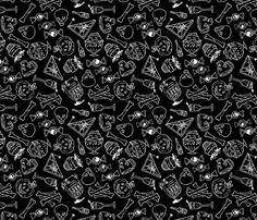 Halloween Jumble -black version fabric by blacklilypie on Spoonflower - custom fabric