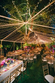 Twinkle Light Tent for Vibrant Reception Photography: Mi Belle Photographers Read More: http://www.insideweddings.com/weddings/colorful-outdoor-wedding-with-supper-club-theme-in-los-angeles-ca/741/