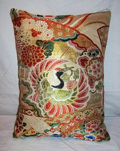 Decorative Silk Pillow Made from Japanese Obi
