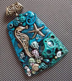 Polymer clay Necklace Seahorse and Starfish by MandarinMoon