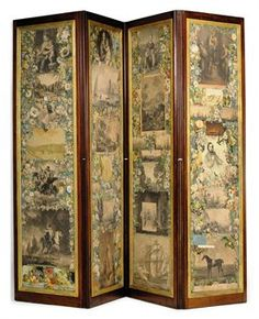 For sale by Christies for over $1000, and it has torn places. Large art pieces ( some from books?) surrounded by floral scrap, also fruit. The back side is not. scrap screen images - Google Search