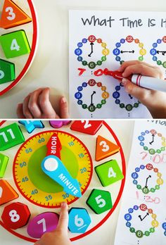preparing for kindergarten telling time activities Time Activities, Educational Activities, Learning Activities, Preschool Activities, Math For Kids, Fun Math, Maths, Teaching Time, Teaching Math