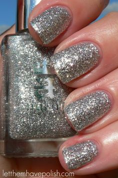 A England The Mythicals 'Merlin' ~ It's made up of irregular shaped micro Silver sparkles packed in a clear base. I think this could be layered but it is VERY dense. For this I used Three thin coats of Merlin. I could not believe the amount of sparkle in this. ~ swatch by Let them have Polish!