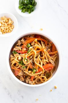 Low FODMAP Thai peanut noodles feature whole-grain brown rice spaghetti, lean ground turkey, and colorful FODMAP-free veggies tossed in a Thai-inspired peanut sauce. This low FODMAP meal can be ready in about 30 minutes. #lowfodmap #onionfree #turkey #30minutemeal Supper Recipes, Spicy Recipes, Diet Recipes, Healthy Recipes, Turkey Recipes, Pasta Recipes, Healthy Foods, Fodmap Recipes, Dairy Free Recipes