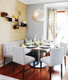 banquette dining space