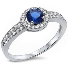 Halo Wedding Engagement Ring 0.84CT Round Cut Deep Blue Sapphire Round Russian Diamond Clear CZ Solitaire Accent Solid 925 Sterling Silver