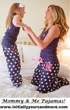 Monogram Mommy & Me matching Pajamas (pants and choose the matching Tshirt or Tank) by InitiallyYoursandMor on Etsy